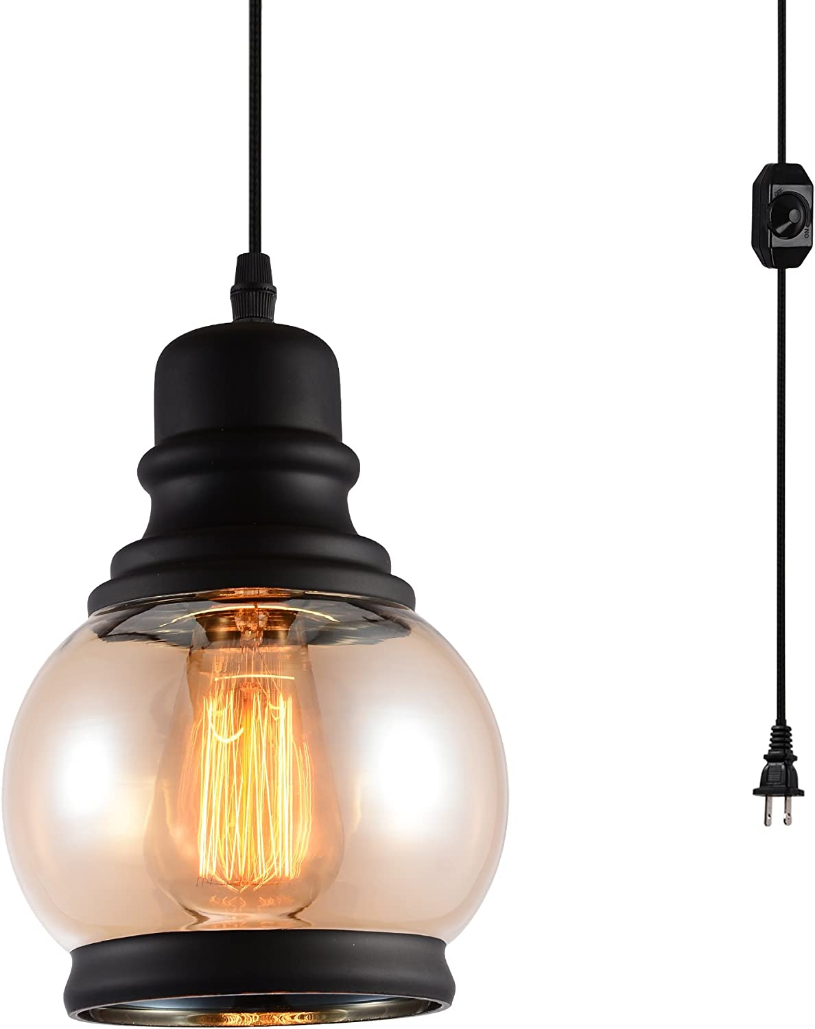 HMVPL Plug in Pendant Lighting Fixtures with Dimmer Switch and Long Hanging Cord, Vintage Glass Swag Chandelier Ceiling Lamp for Kitchen Island Dining Table Bedroom Foyer Entry Hallway
