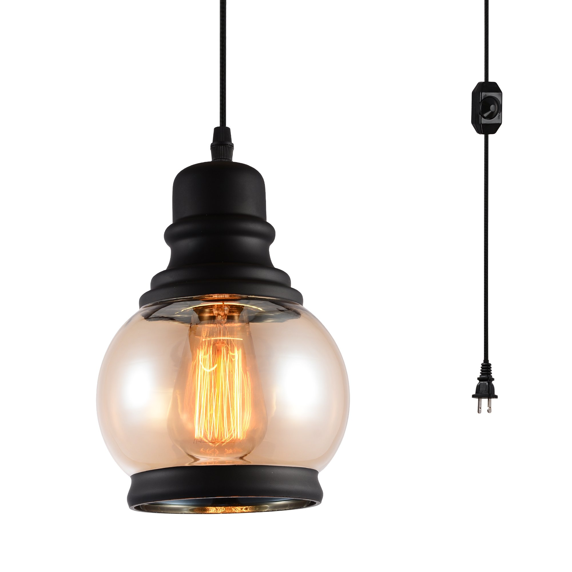 HMVPL Glass Hanging Lights with Plug in Cord and On/Off Dimmer Switch, Updated Industrial Edison Vintage Swag Pendant Lamps for Kitchen Island or Dining Room - Black Orb
