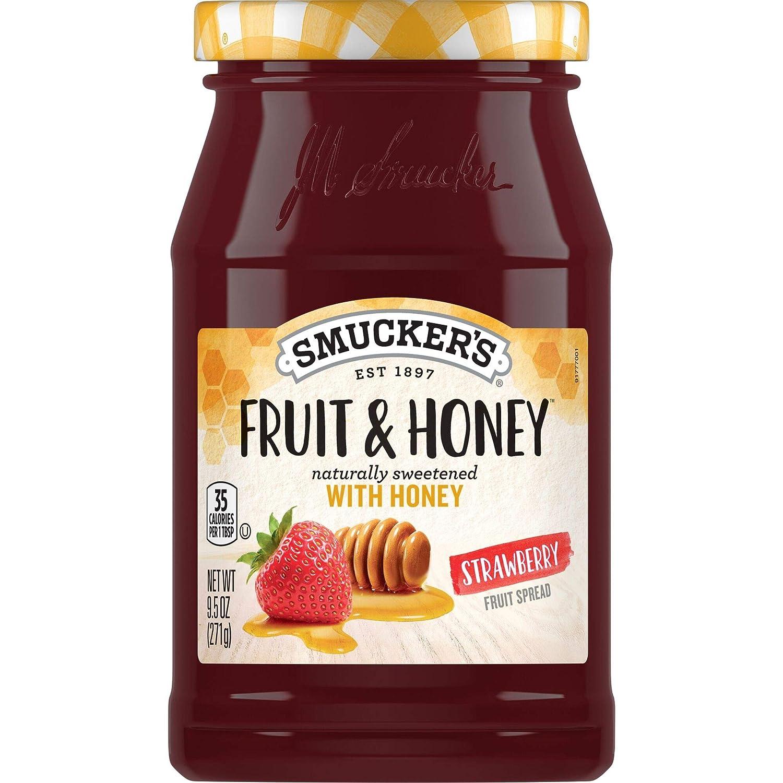 Smucker's Fruit & Honey Strawberry Fruit Spread, 9.5 Ounces (8 Count)