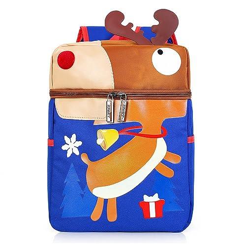 LUXIAO nuevos niños de dibujos animados lindo reno de Navidad mochila (Azul)