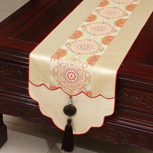 Camino De Mesa,Vintage Beige Table Runner Clásico Chino Jade ...