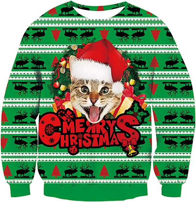 Unisex Ugly Christmas Sweater 3D Print Sweatshirts Funny Christmas Sweaters with Cats