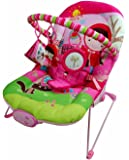Just4baby Pink Girl Musical Melodies Soothing Vibration Baby Bouncer Bouncing Rocker Reclining Chair with 3 Hanging Toys