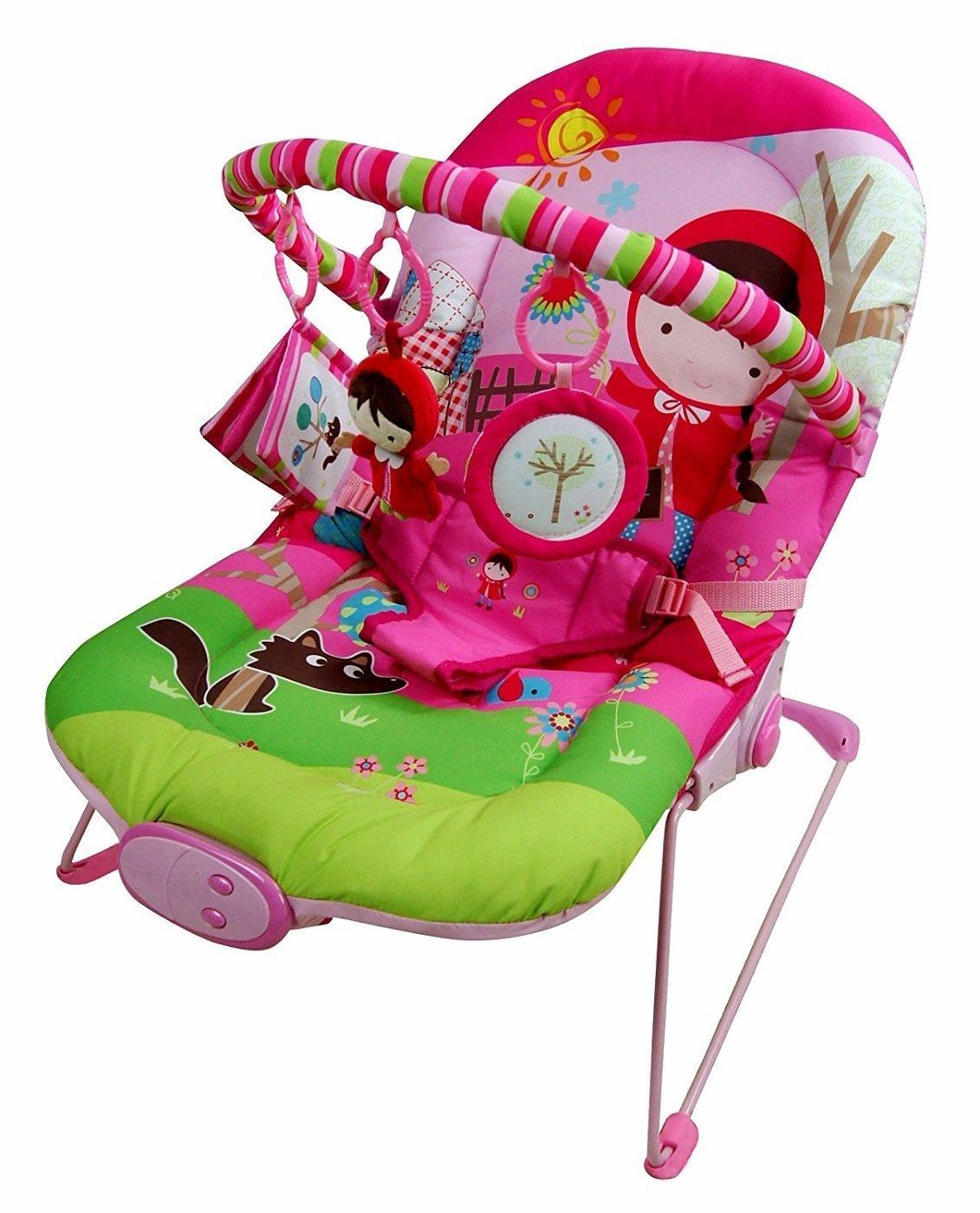Just4baby Transat à bascule musical et à vibration avec 3 jouets à suspendre Rose