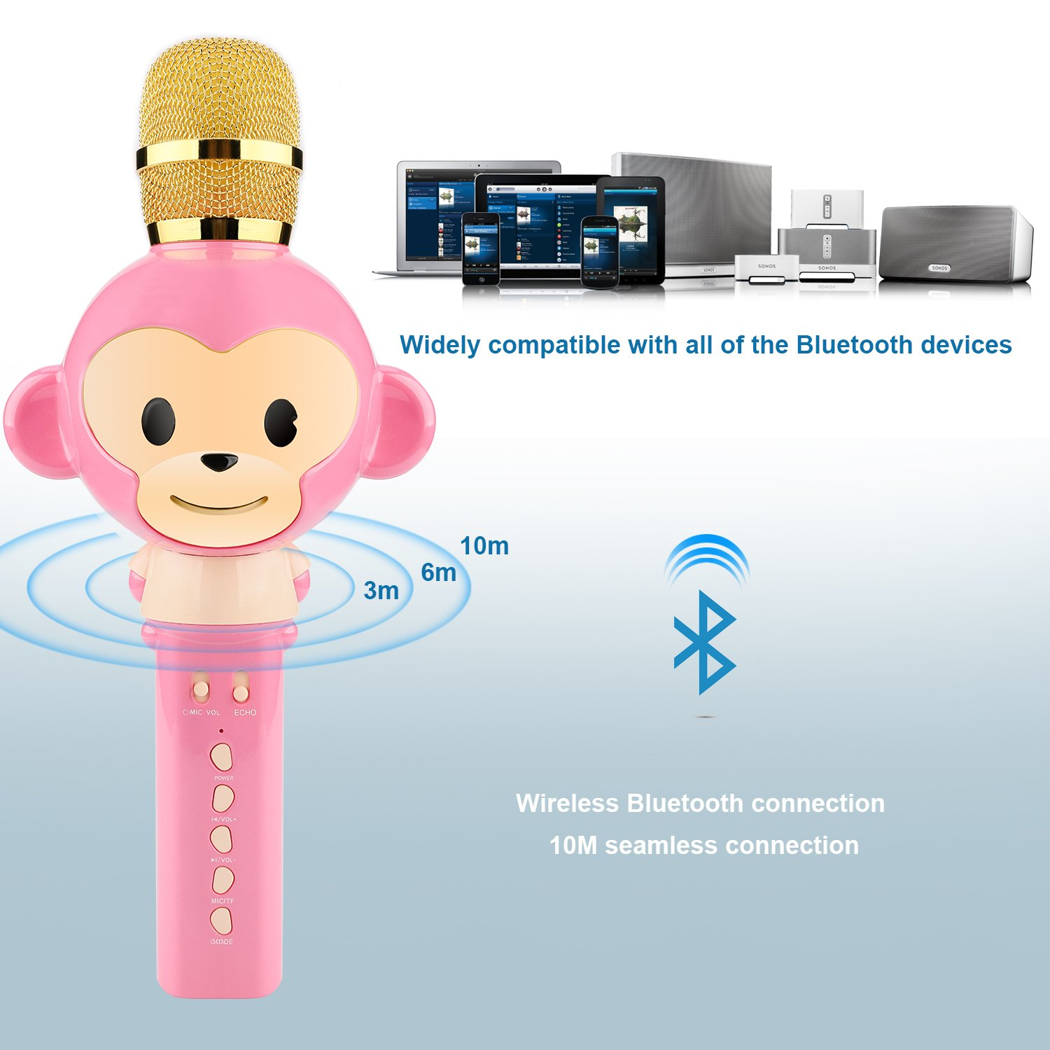 Microphone for Kids Children Karaoke Microphone Bluetooth Wireless Microphone Portable Handheld Karaoke Machine Toys Gifts Singing Recording Home KTV Party iPhone Android PC Smartphone (Pink) by Seelin (Image #4)