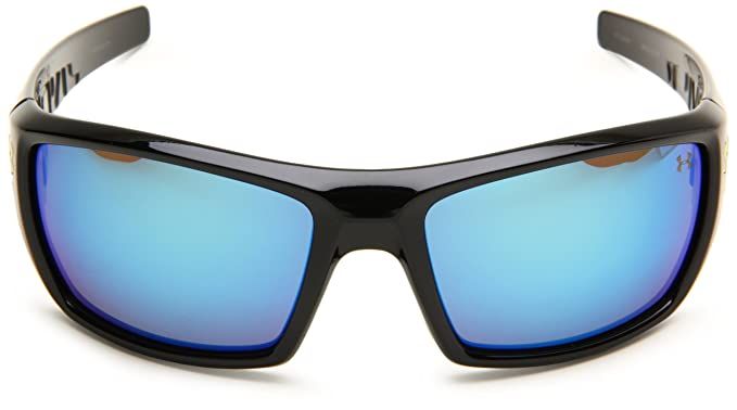 5432737bcbb5 Amazon.com: Under Armour Assert Shiny Black Frame / Blue Lettering W/ Lime  Green Rubber W/ Gray Lens W/ Blue Multiflection Lens: Under Armour: Clothing