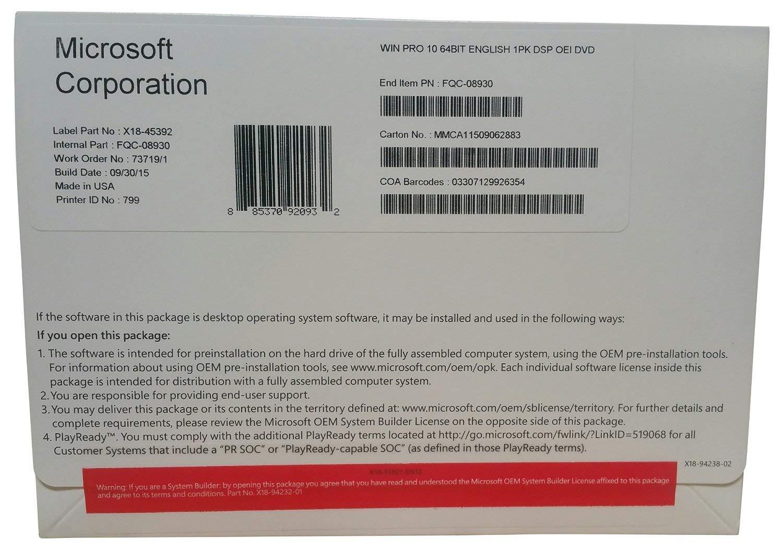 Windows 10 Professional OEM 64 Bit DVD English Language | Full Product by Operating System (Image #3)