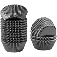 Lelekiss Metallic Foil Cupcake Liners Black Standard Baking Cups Muffin Case (200 Pieces)