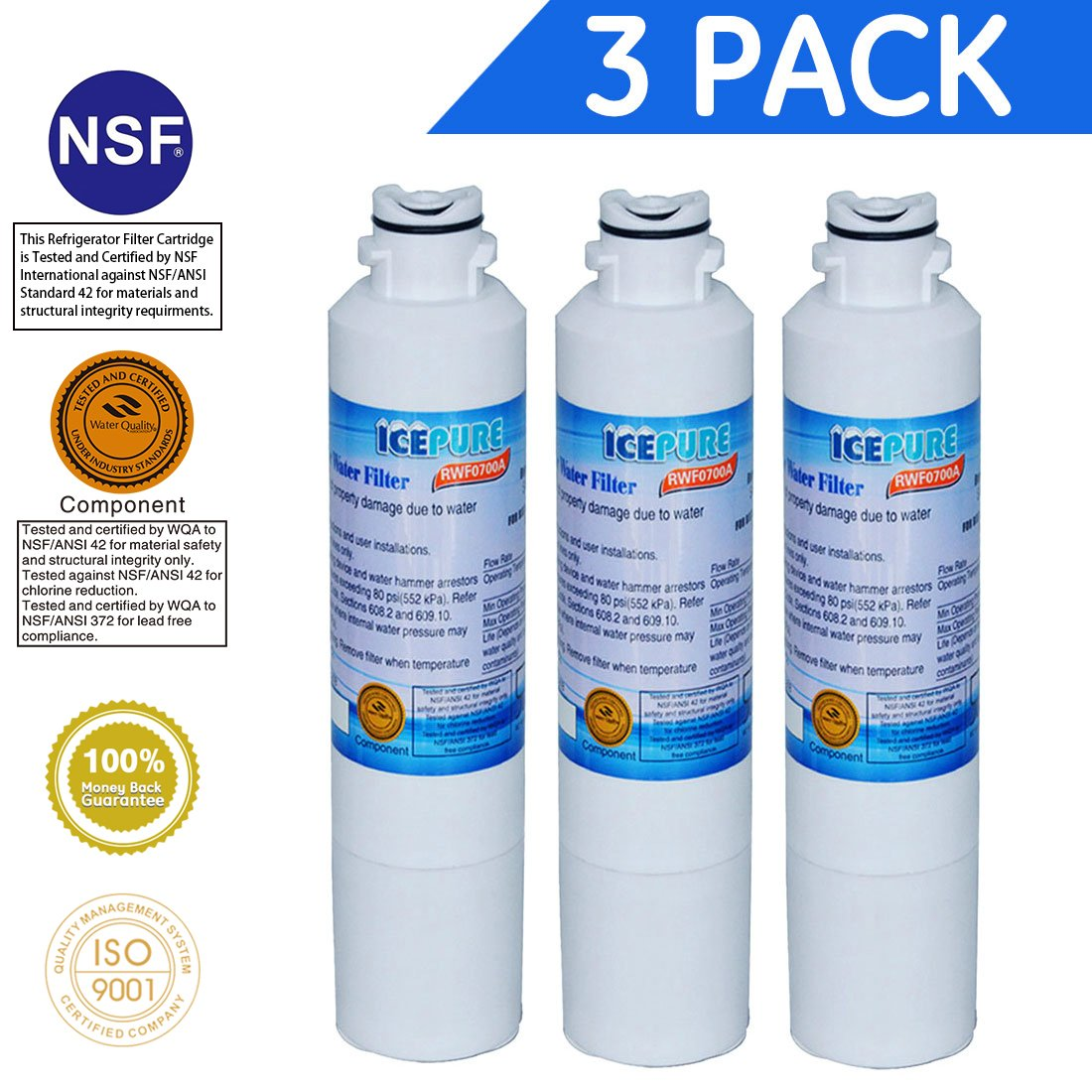 Icepure DA2900020B Refrigerator Water Filter Replacement for Samsung DA2900020B, DA2900020A,HAF-CIN EXP,46-9101(3 PACK)