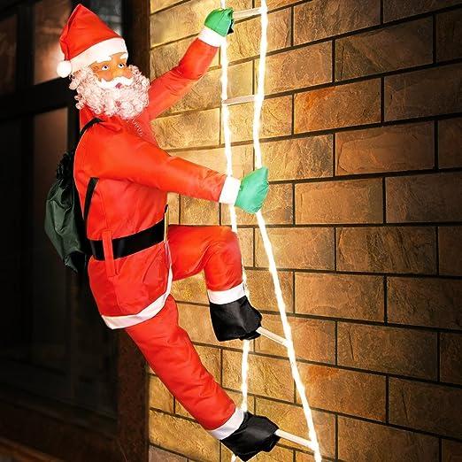 Deuba Papá noel con una escalera de 120 luces LEDs interior exterior navidad 8 funciones diferentes decoración navideña: Amazon.es: Hogar