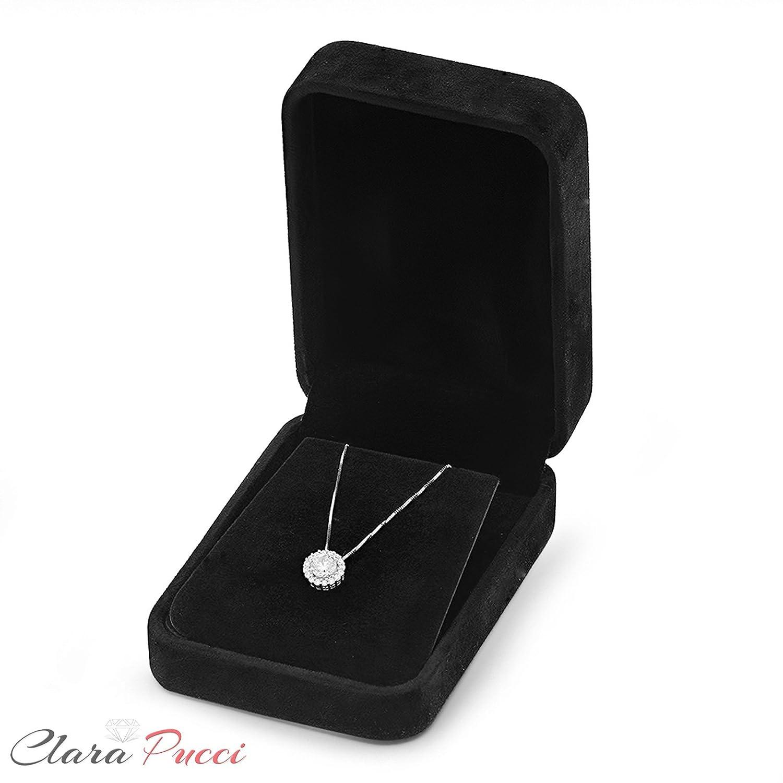 Clara Pucci 1.2 CT Brilliant Round Cut Pave Halo 14K White Gold Pendant Box Necklace 16 Chain