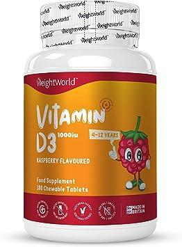 Vitamina D Niños - Comprimidos Masticables para Niños 1000 UI, 180 ...