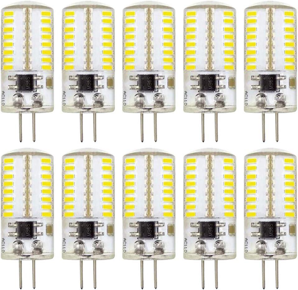 G4 LED Bulb Dimmable Daylight White 6000K 3W 30W Halogen Equivalent Bi-Pin Base Lamp 110V 360 Lumens (Pack of 10)