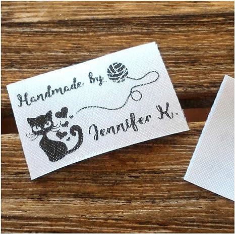 100 etiquetas de costura personalizadas con diseño de gato y ...