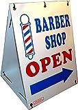 """BARBER SHOP OPEN w/ Dirrectional Arrow 2-Sided 18"""" x 24"""" Sandwich Board Sign Kit"""