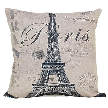 Amazon.com: Fundas de almohada diseño de moda paris estilo ...