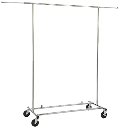 AmazonBasics Rolling Clothing Garment Rack with Wheels, Chrome Silver
