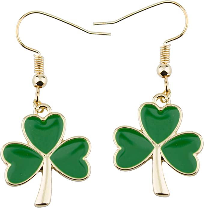 Organic Dried Plant Leaf Ln1757 Grass Small 12 Irish Shamrock by Lynn 4 Leaf Clover Resin Stainless Steel Earrings St Patrick/'s Day