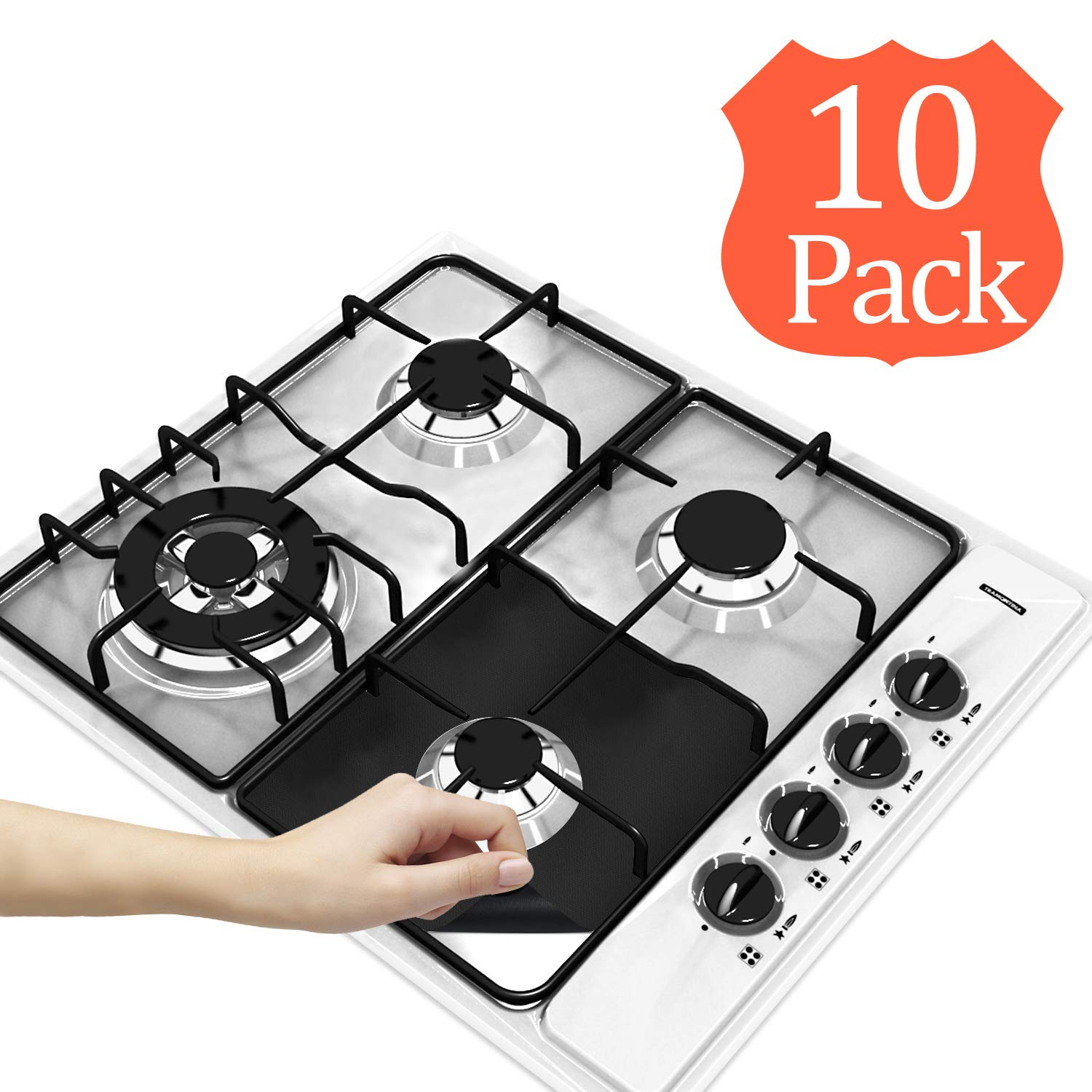 "8-Pack Reusable Gas Stove Burner Covers Dishwasher Safe Totech Non-stick Stovetop Burner Liners Gas Range Protectors for Kitchen- Size 10.6/"" x 10.6/""-Double Thickness 0.2mm Easy to Clean Cuttable"