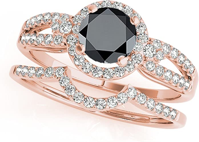 1.50 Ct Round Cut Black Diamond Halo Engagement Ring 14k Yellow Gold Over
