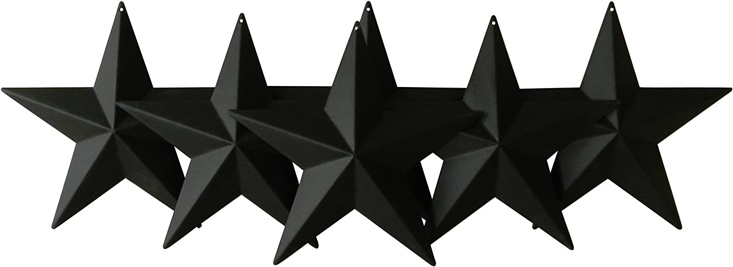 CVHOMEDECO. Country Rustic Antique Vintage Gifts Metal Barn Star Wall/Door Decor, 5-1/2 Inch, Set of 6. (Matt Black)