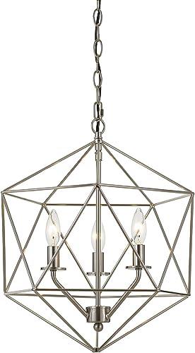 AF Lighting 9132-3H Brushed Nickel Bellini Three-Light Chandelier, 3