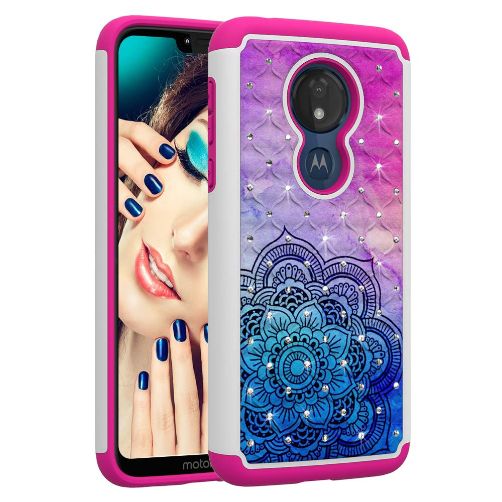Berry Accessory Moto G7 Power Case,Luxury Glitter Sparkle Bling Case,Studded Rhinestone Crystal Hybrid Dual Layer Armor Protection Case for Motorola Moto G7 Power Black Floral Mandala Butterly