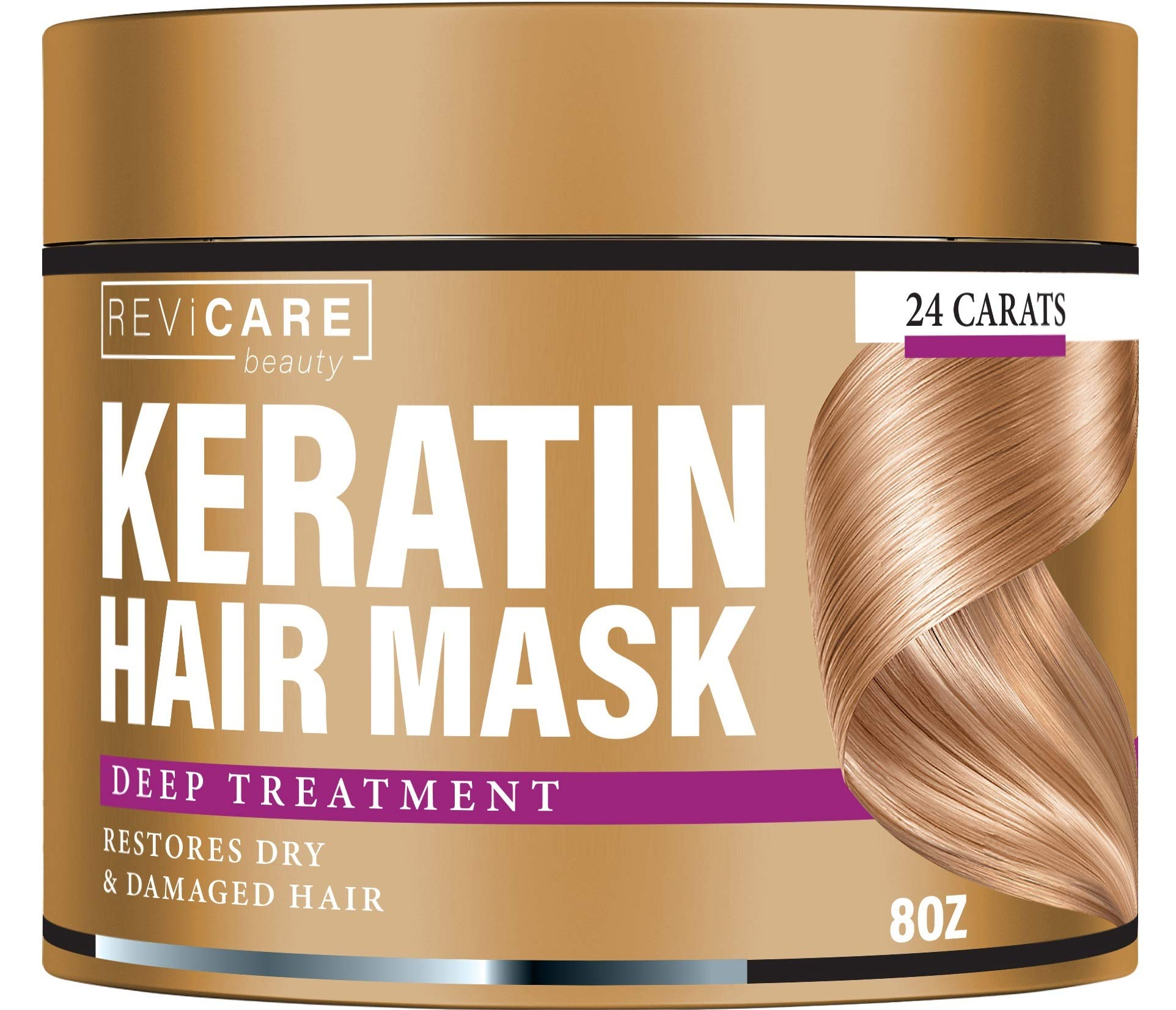 Keratin Hair Mask - Restores Dry & Damaged Hair - Effective Keratin Treatment with Coconut Oil, Retinol & Aloe Vera - Made in USA - Moisturizing Anti Frizz Hair Mask - Powerful Keratin Complex by Revicare beauty