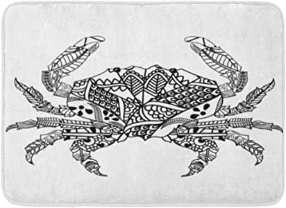 Rongpona Alfombrilla de baño Cangrejo Negro con Dibujo