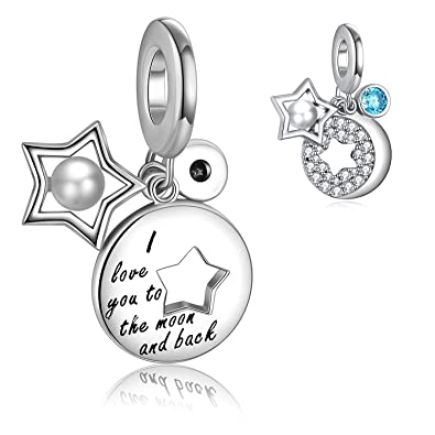 6d19f667e0e2a I Love You to the Moon and Back Charm for Charm Bracelet& Necklace Chain,  925 Sterling Silver Moon& Star Charm with Shell Pearl and Round Shape Blue  ...