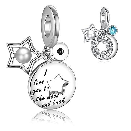 dcfa9f8b3 Mother Daughter Heart Love Charms Dangle Bead Set for Pandora Bracelet for  Snake Chain 925 Sterling