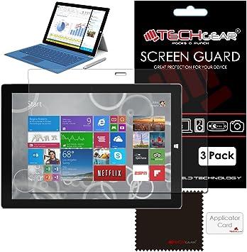 unidades 3] Techgear® Microsoft Surface Pro 3 (12,0 pulgada Windows 8,1 Pro tablet) Ultra Protector de pantalla transparente Guard fundas con protector de gamuza de limpieza y tarjeta de aplicación: Amazon.es: Electrónica