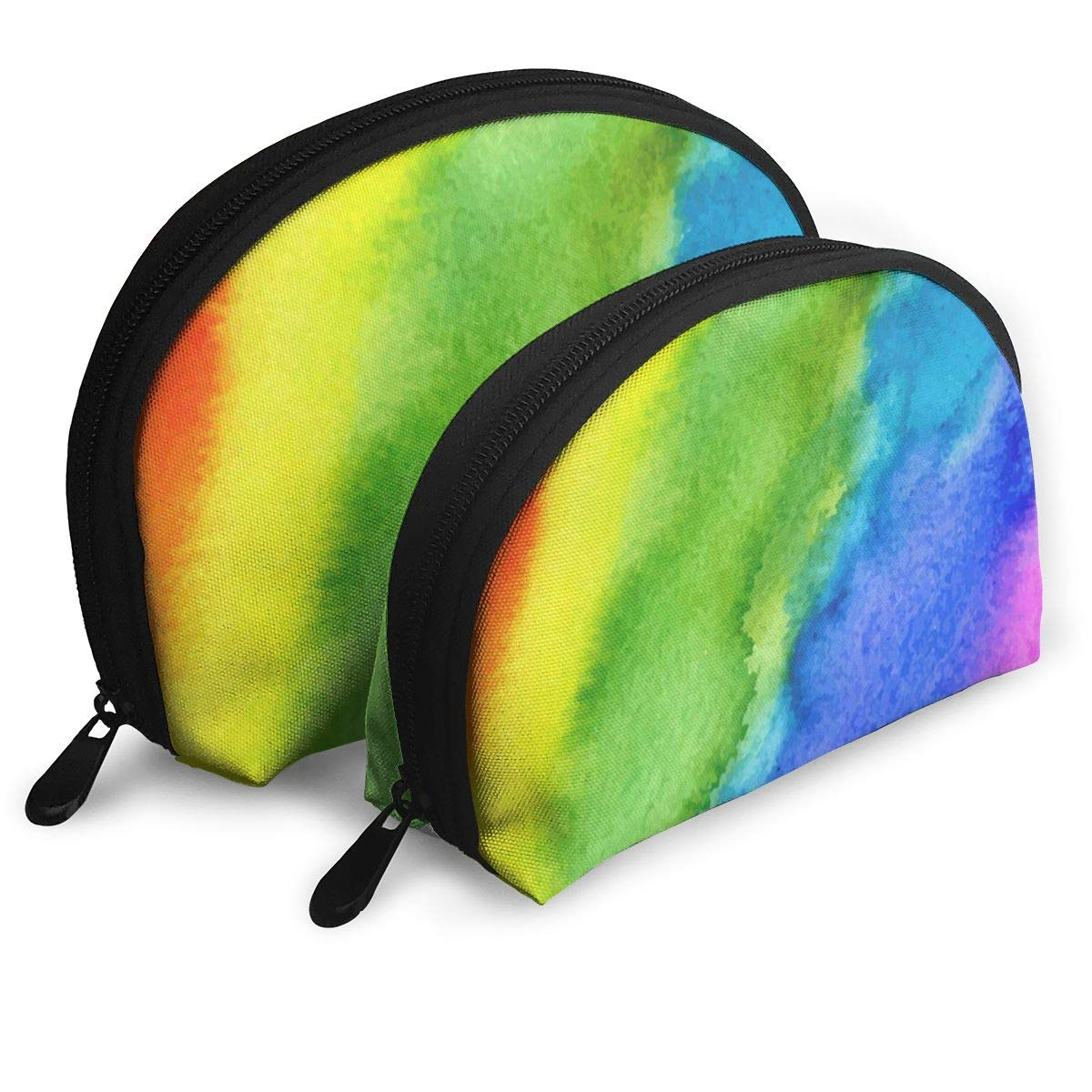 9c4c154679ea Amazon.com : Makeup Bag Watercolor Stripe Rainbow Handy Shell Travel ...