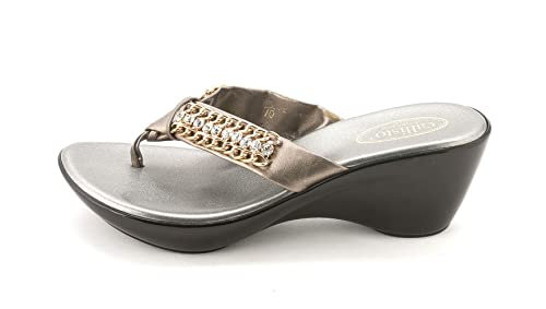 272aeb7a3 Image Unavailable. Image not available for. Colour  Callisto Women s Ellaa  Embellished Thong Wedge Sandals
