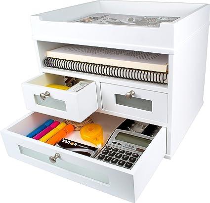 White Desk Organizer   Wooden Construction With Storage Drawers