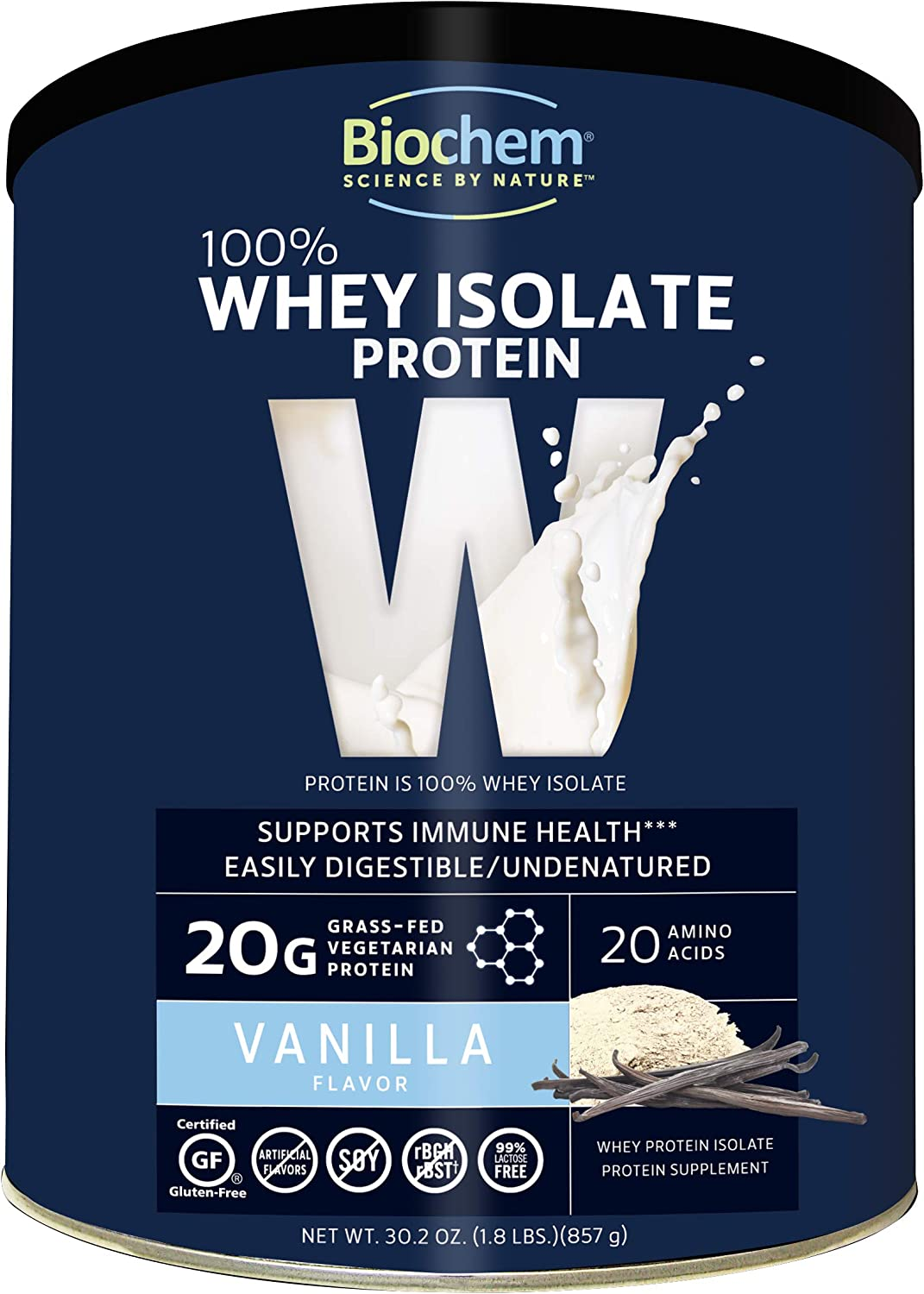 Biochem 100 Whey Isolate Protein – Vanilla Flavor – 30.2 Ounce – Supports Immune Health – Easily Digestible – Refreshing Taste – 20g Vegetarian Protein – Amino Acids