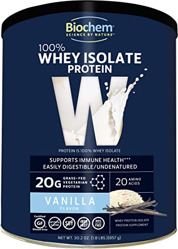 Biochem 100 Whey Isolate Protein – Vanilla – 30.2 oz – 20g of Protein – Meal Replacement -Supports Lean Muscle – Easily Digestible – Silky Smooth Taste – Amino Acids