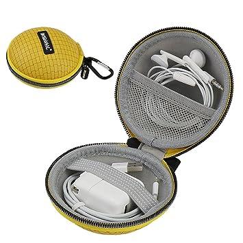 Iksnail Earbud Earphone Headphone Case with Carabiner Mini Storage Carrying Bag