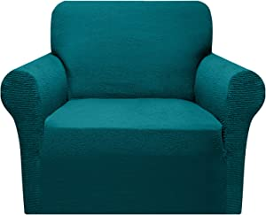 Granbest Super Soft Chair Covers 1-Piece Luxurious Sofa Slipcovers for Living Room Washable Non Slip Furniture Protector Couch Covers for Dogs with Elastic Bottom (Small, Blackish Green)