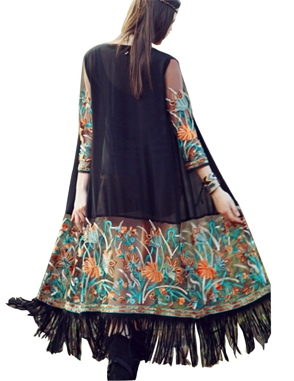 Hamour Women's Swimsuits Tassels Flower Embroider Beach Cover Up Long Kimono Cardigan,Black