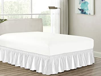 Heavy Duty Elastic Wrap Around 18quot Drop Dust Ruffled Bed Skirt Cover White King