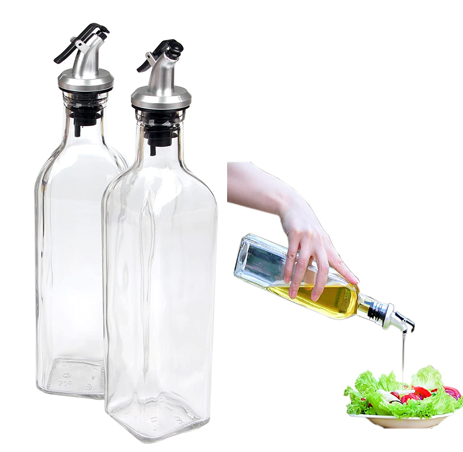 Container Spout Oil Dispenser Bottle Set for Kitchen Cruet Oil Dispenser Glass Bottle for Cooking with Lever Release Pourer,17oz(500ml) by Yier