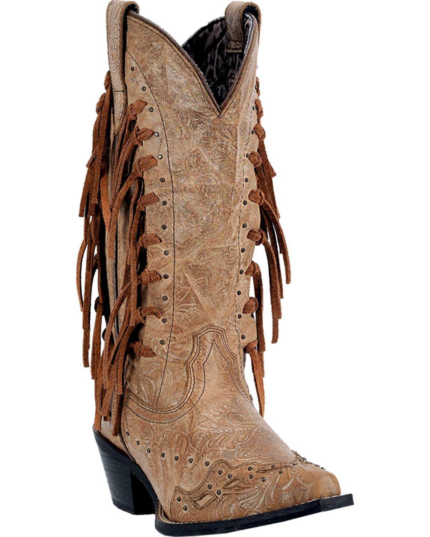 Laredo Women's Tygress Fringe Cowgirl Boot Snip Toe - 52031 B0118O1WLM 7.5 B(M) US|Camel