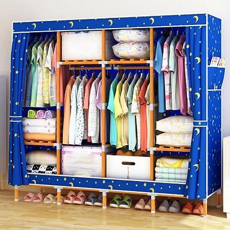 LyMei Armario de Almacenamiento de Madera Maciza Armario Oxford Cloth Closet Organizador de Almacenamiento a Prueba de Polvo Ropa guardarropa 66 * 68 Pulgadas,E: Amazon.es: Hogar