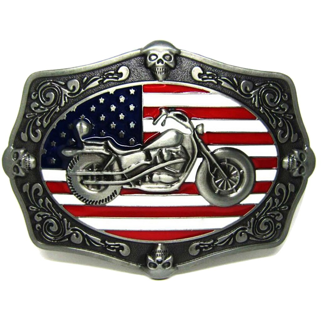 Baosity Vintage Gothic Skull Motorcycle Motorbike Design Metal Belt Buckle for Men