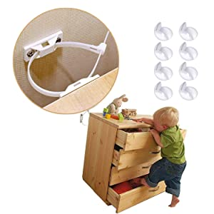 Furniture Straps (12 Pack) + Corner Guards (8 Pcs) | Baby Proofing Anti Tip Furniture Anchors Kit | Adjustable Child Safety Earthquake Straps | Wall Anchors Protect Toddler from Falling Furniture