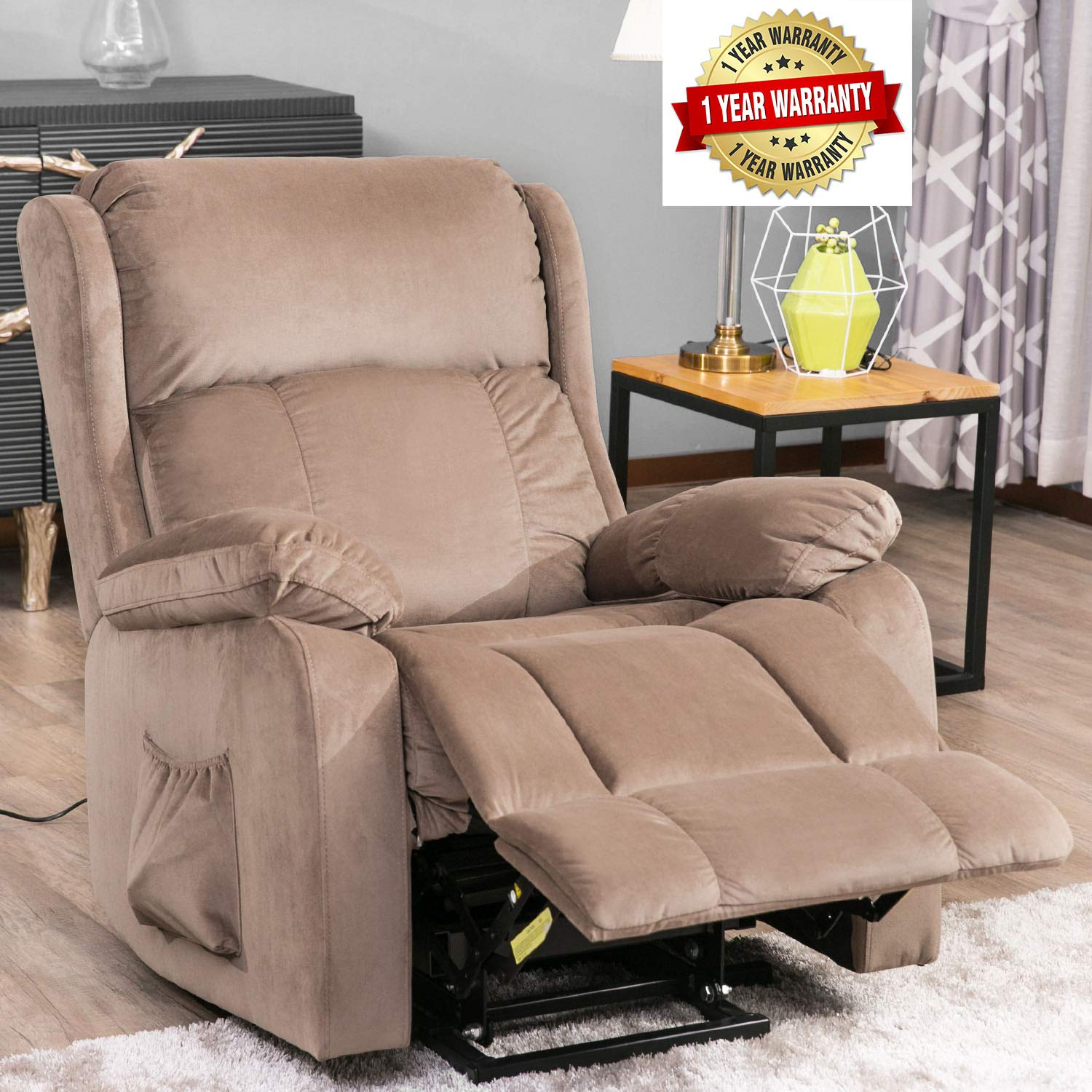Power Lift Chair for Elderly Reclining Chair Sofa Electric Recliner Chairs with Remote Control Soft Fabric Lounge by Merax