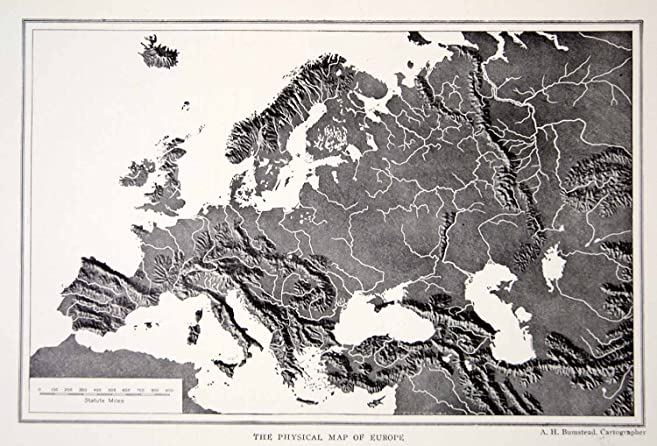 1918 Print Map Europe Physical Geography Mountains River Valleys ...