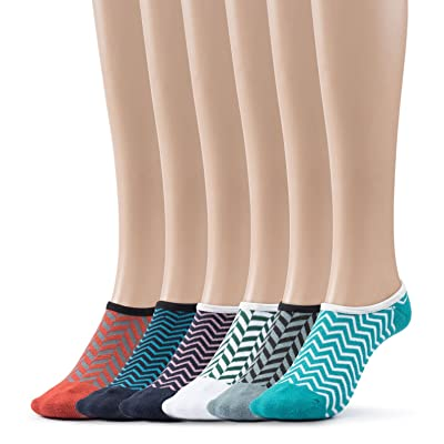 Women's No Show Socks Patterned Cushioned Foot Liners 6 Per Pack By Silky Toes
