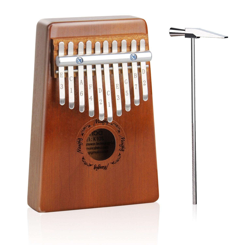 Mugig Kalimba Mbira Sanza 10 Keys Thumb Piano Pocket Size Portable with Tune Hammer, Instuctions and Bags for Beginners K10S